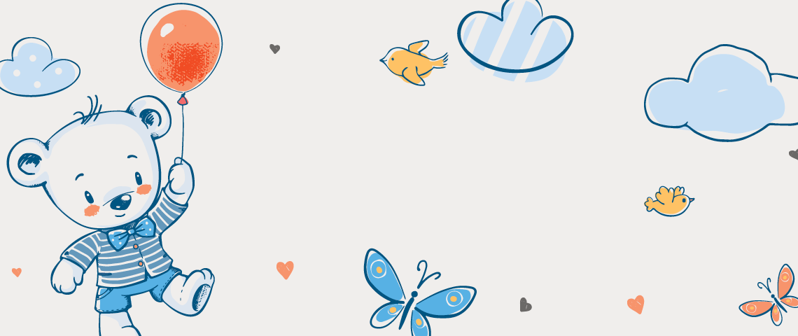 Cute drawings of a bear holding a balloon, clouds and butterflies